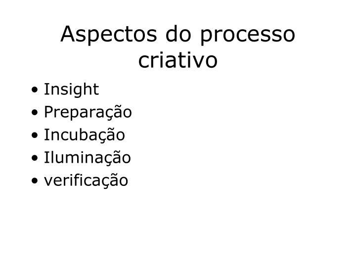 Aspectos do processo criativo