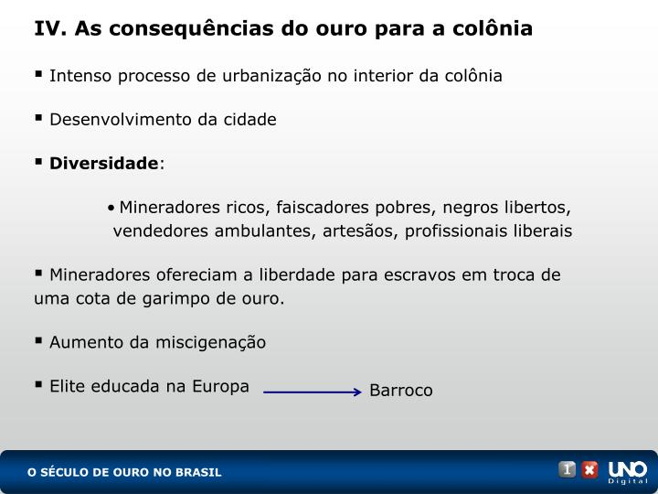 IV. As consequências do ouro para a colônia