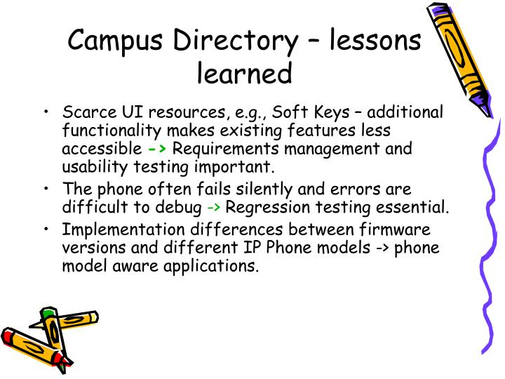 Campus Directory – lessons learned