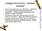 campus directory lessons learned