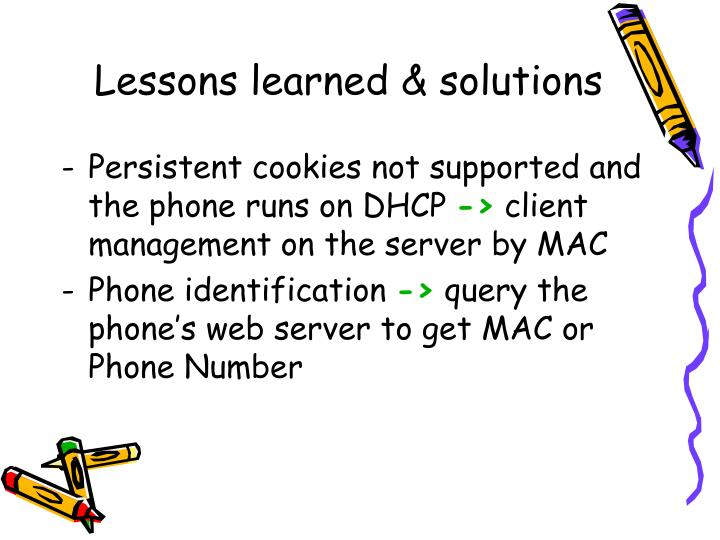 Lessons learned & solutions