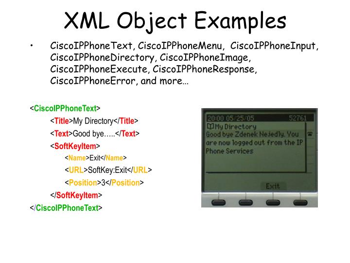 XML Object Examples