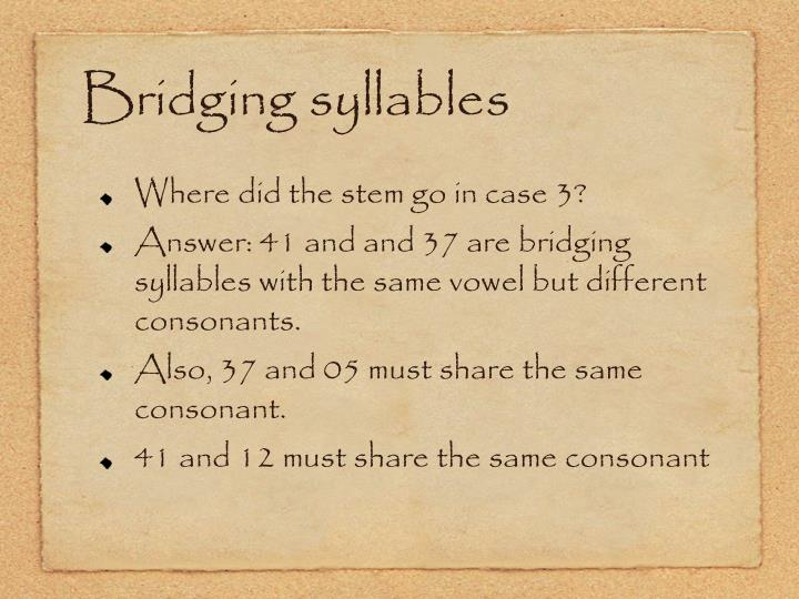 Bridging syllables