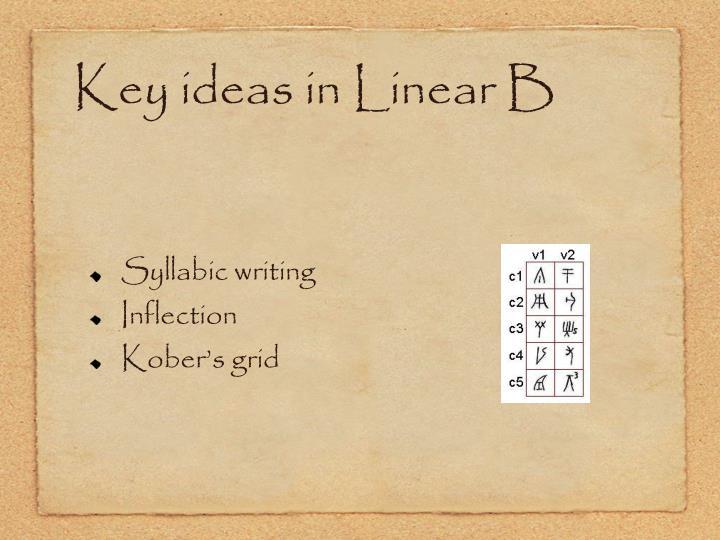 Key ideas in Linear B