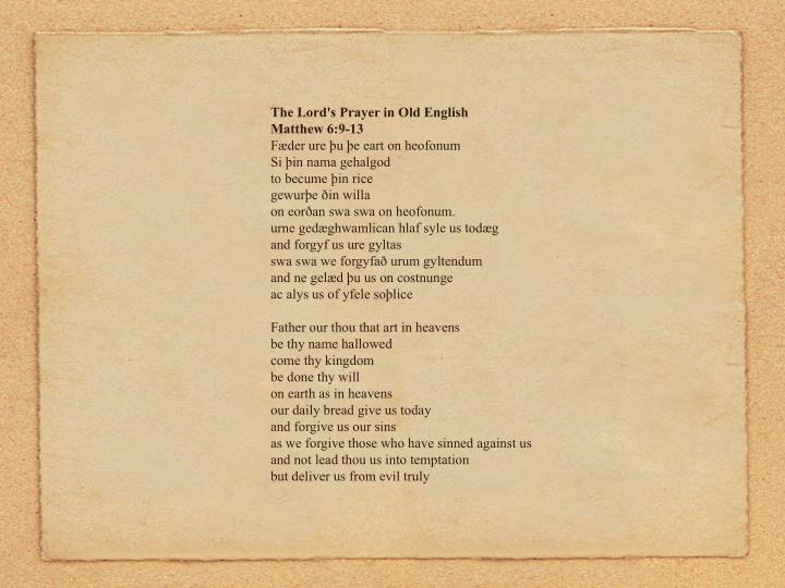 The Lord's Prayer in Old English