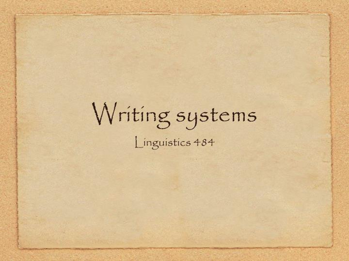 Writing systems