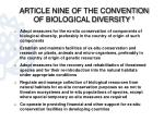 article nine of the convention of biological diversity 1