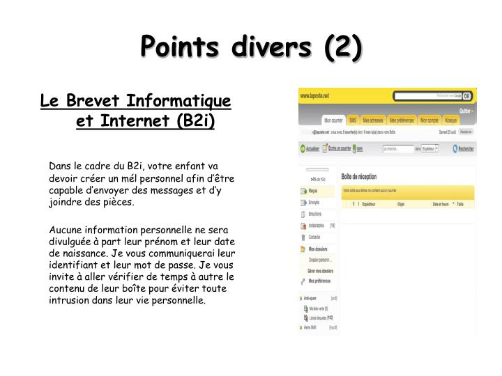 Points divers (2)