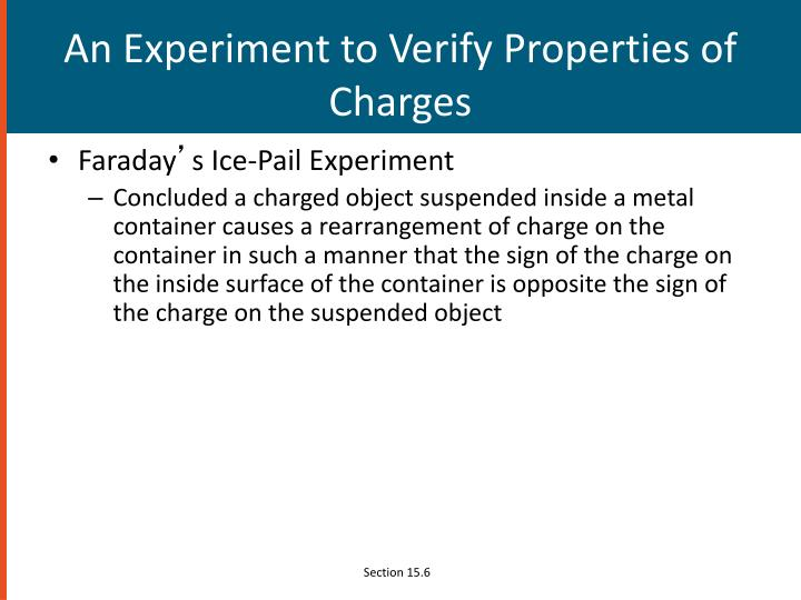 An Experiment to Verify Properties of Charges