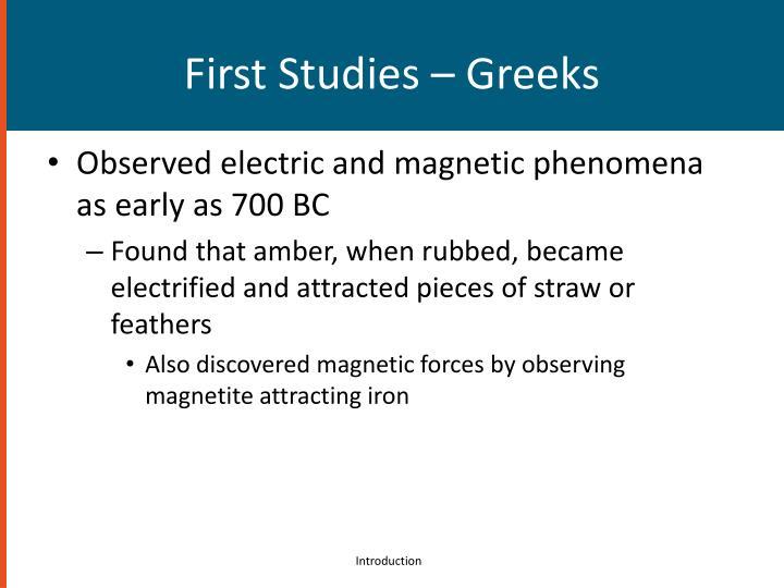 First Studies – Greeks