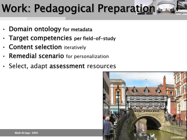 Work: Pedagogical Preparation