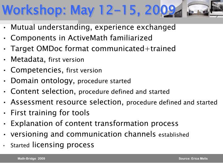 Workshop: May 12-15, 2009