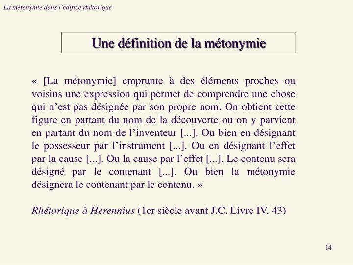 La métonymie dans l'édifice rhétorique