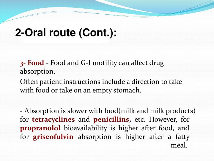 2-Oral route (Cont.):