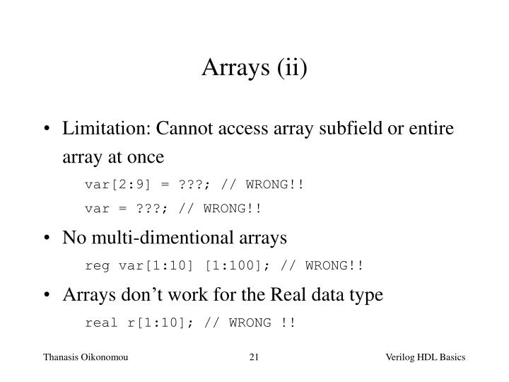 Arrays (ii)