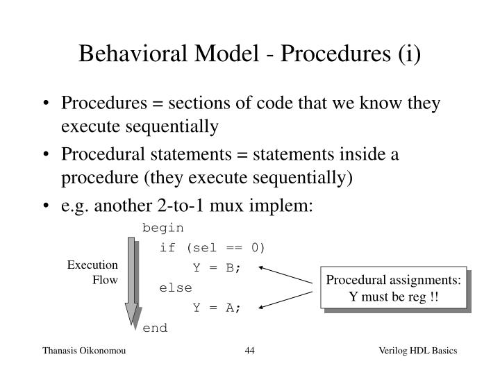 Behavioral Model - Procedures (i)