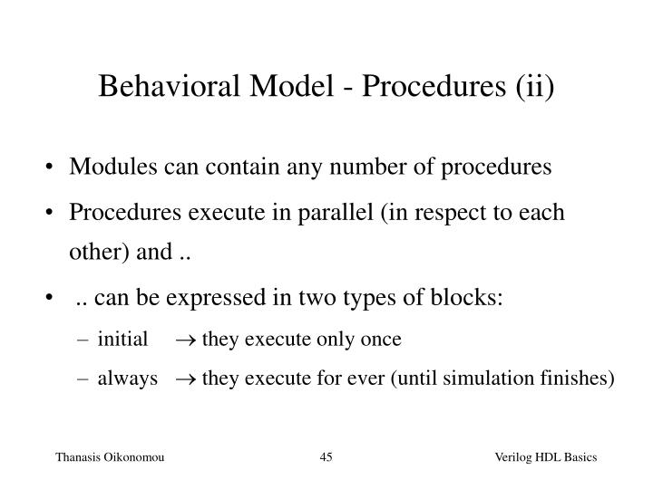 Behavioral Model - Procedures (ii)