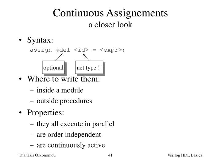 Continuous Assignements