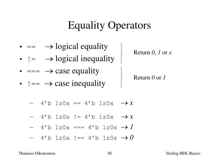 Equality Operators