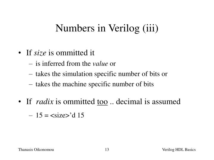 Numbers in Verilog (iii)