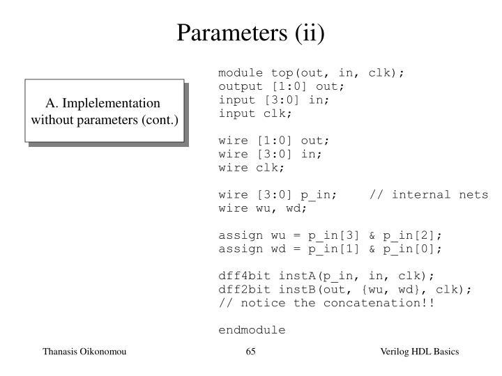 Parameters (ii)