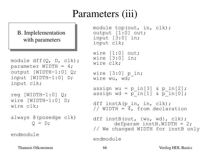 Parameters (iii)