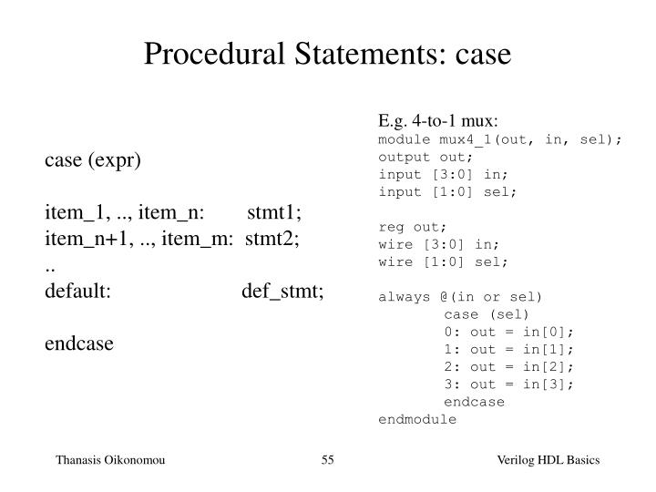 Procedural Statements: case