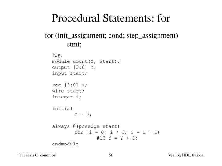 Procedural Statements: for