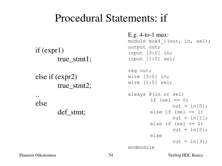 Procedural Statements: if