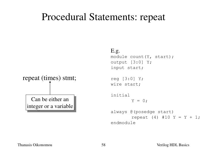 Procedural Statements: repeat