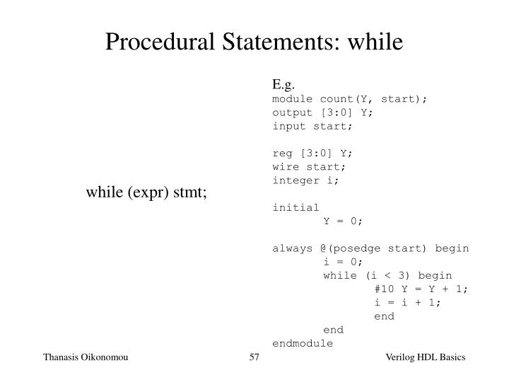 Procedural Statements: while