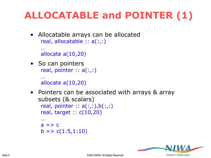 ALLOCATABLE and POINTER (1)