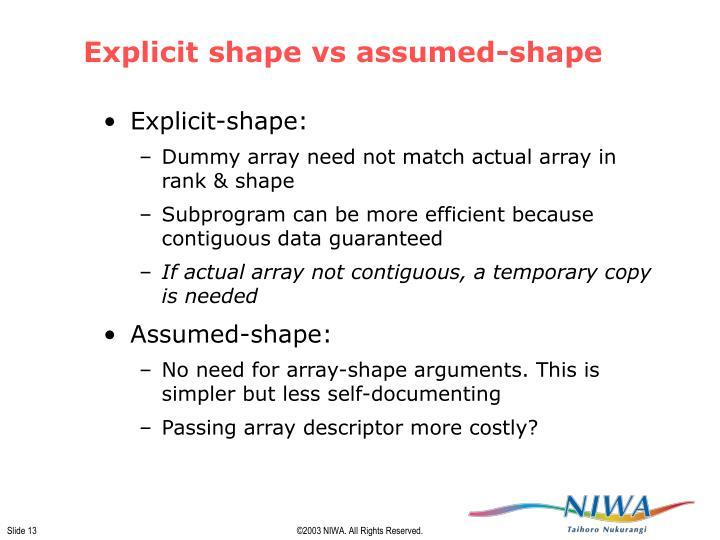 Explicit shape vs assumed-shape