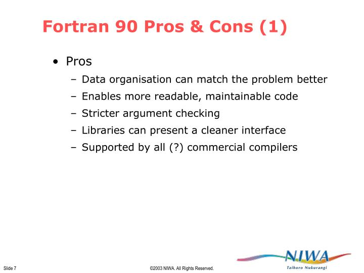 Fortran 90 Pros & Cons (1)