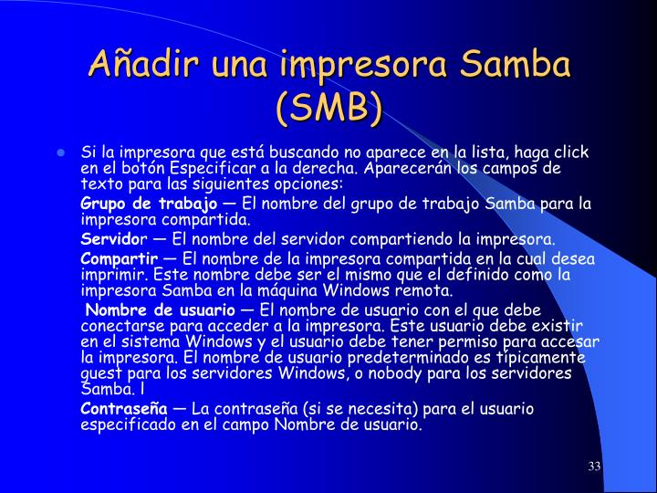 Añadir una impresora Samba (SMB)