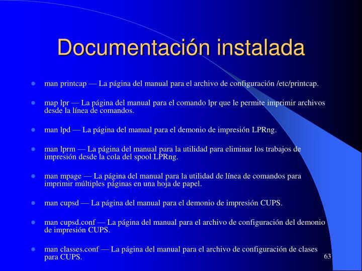 Documentación instalada