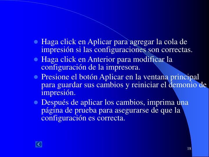 Haga click en Aplicar para agregar la cola de impresión si las configuraciones son correctas.