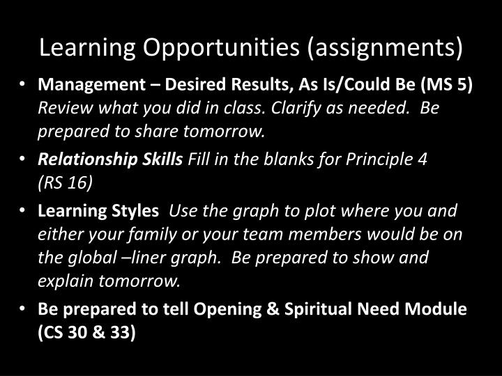 Learning Opportunities (assignments)