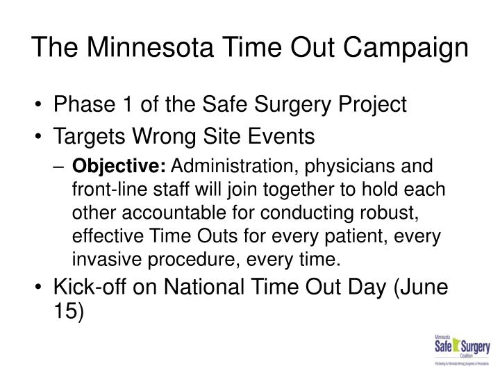 The minnesota time out campaign