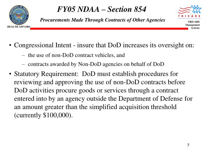 FY05 NDAA – Section 854