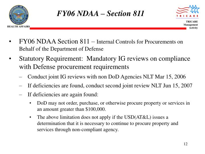 FY06 NDAA – Section 811