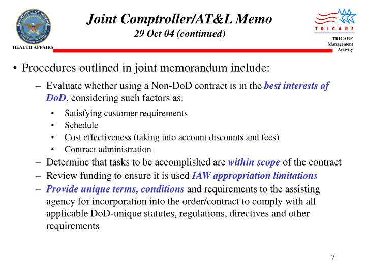 Joint Comptroller/AT&L Memo