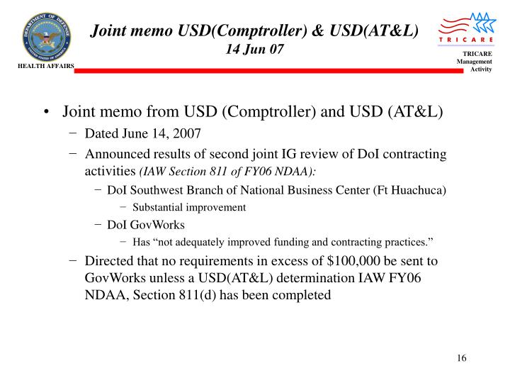 Joint memo USD(Comptroller) & USD(AT&L)