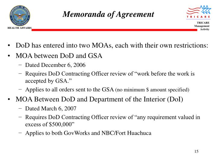 Memoranda of Agreement