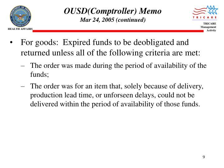 OUSD(Comptroller) Memo