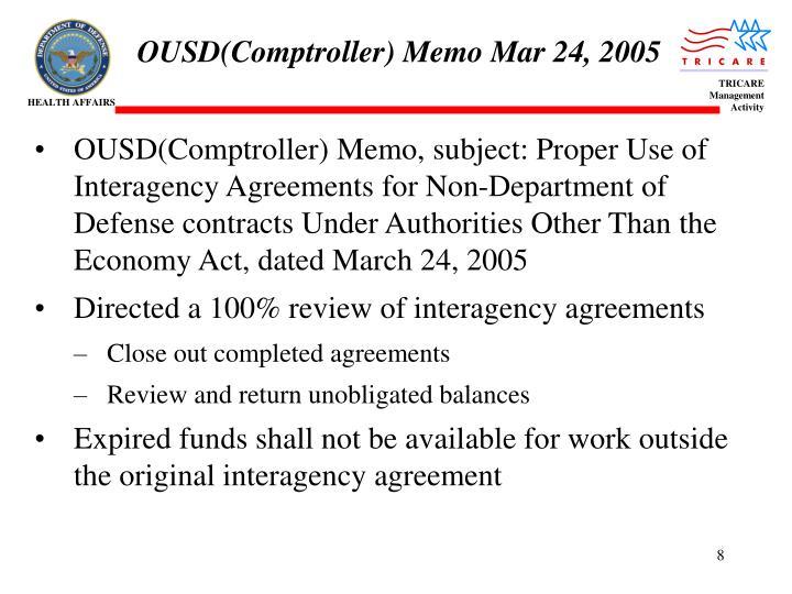 OUSD(Comptroller) Memo Mar 24, 2005