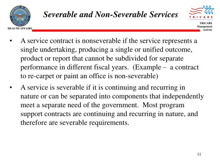Severable and Non-Severable Services