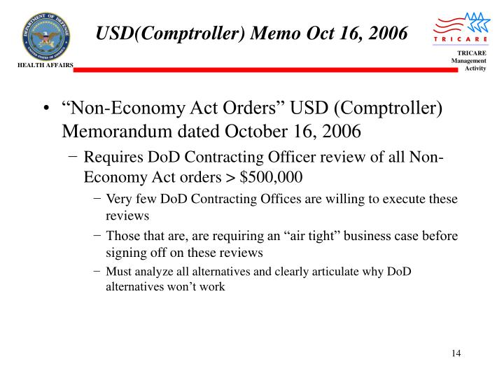 USD(Comptroller) Memo Oct 16, 2006