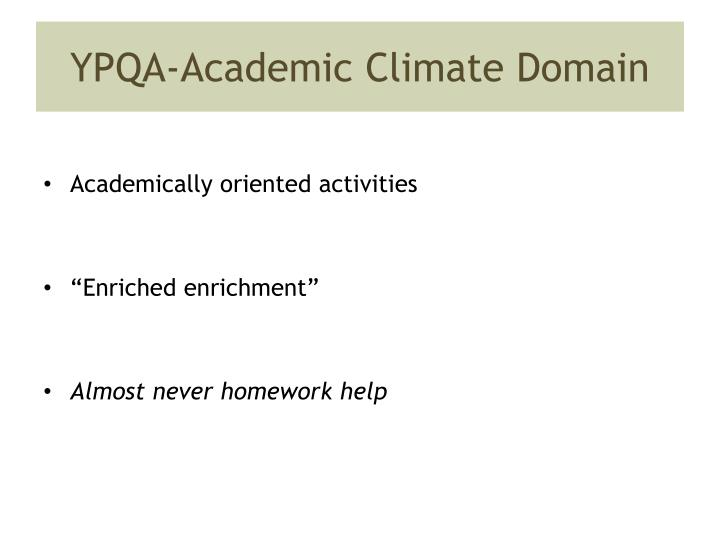 YPQA-Academic Climate Domain