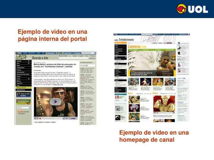 Ejemplo de video en una página interna del portal